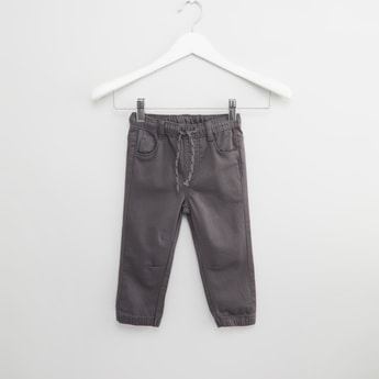 Textured Jeans with Elasticised Waistband and Pocket Detail