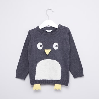 Penguin Sweater with Ribbed Hems and Applique