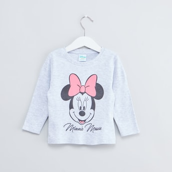 Minnie Mouse Printed Round Neck T-shirt with Long Sleeves