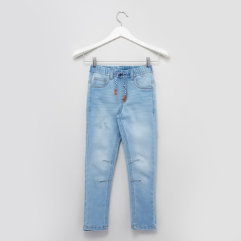 Plain Jeans with Elasticised Waistband and Pocket Detail