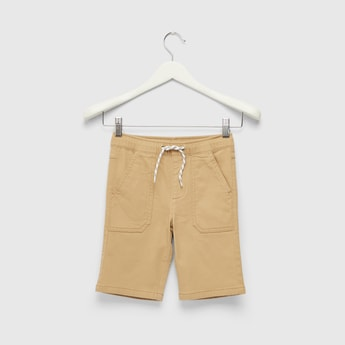 Solid Woven Shorts with Drawstring Closure