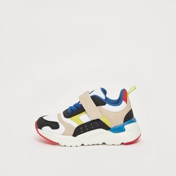 Colour Block Sneakers with Hook and Loop Closure