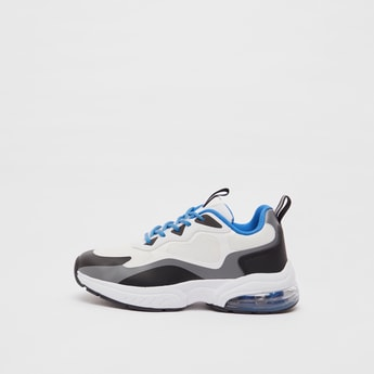 Colourblock Lace-Up Sports Shoes with Pull Tab