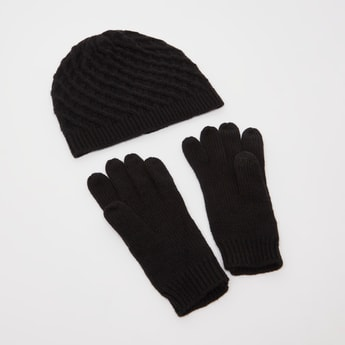 Textured Beanie Cap and Gloves Set