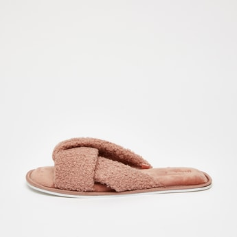 Plush Detail Bedroom Slippers with Cross Straps
