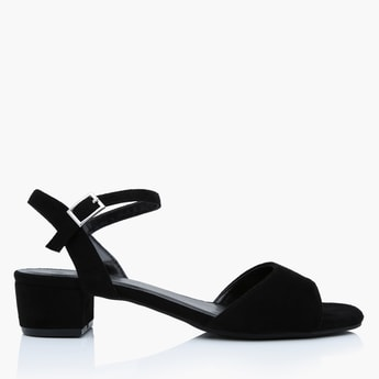 Block Heel Sandals with Ankle Straps and Pin Buckle Closure