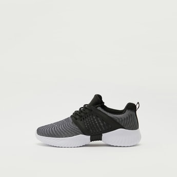 Panelled Sports Shoes with Lace-Up Closure