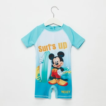 Mickey Mouse Graphic Print Swimsuit with Zip Closure