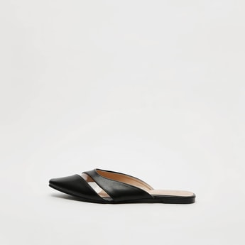 Solid Mules with See-Through Detail