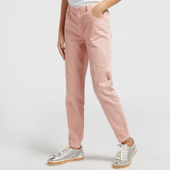Solid Jeans with Pocket Detail and Elasticised Waistband