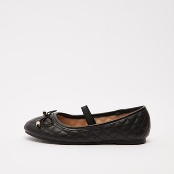 Quilted Slip-On Mary Jane Shoes with Bow Accent
