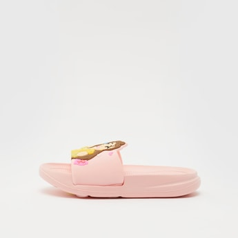 Belle Embossed Detail Slides with Vamp Band