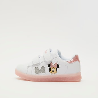 Minnie Mouse Print Sneakers with Hook and Loop Closure