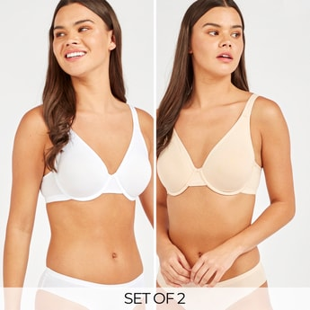 Set of 2 - Solid Basic Bra with Hook and Eye Closure