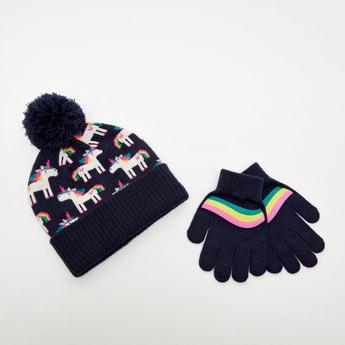 Unicorn Textured Beanie Cap and Gloves Set