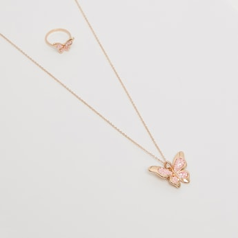 Butterfly Pendant Necklace and Ring Set