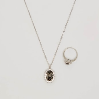 Embellished Pendant Necklace and Finger Ring Set