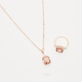 Studded Pendant Necklace with Finger Ring