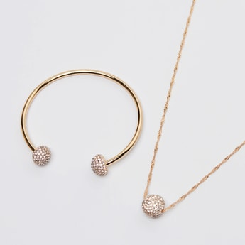 Studded Pendant Necklace and Open Cuff Bracelet Set