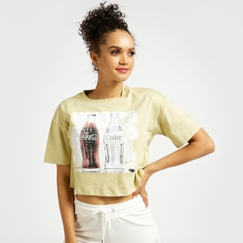 Coco-Cola Print Round Neck Boxy T-shirt with Short Sleeves