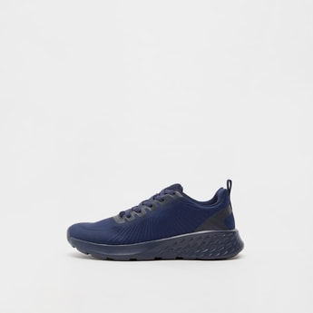 Textured Lace-Up Sports Shoes with Pull Tabs