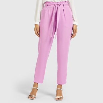 Solid Cropped Pants with Paperbag Waist and Tie-Ups