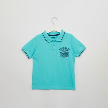 Embroidered Detail Polo T-shirt with Short Sleeves
