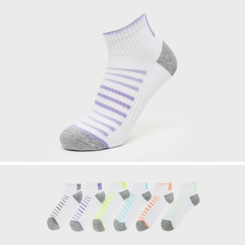 Pack of 6 - Striped Ankle Length Socks with Cuffed Hem