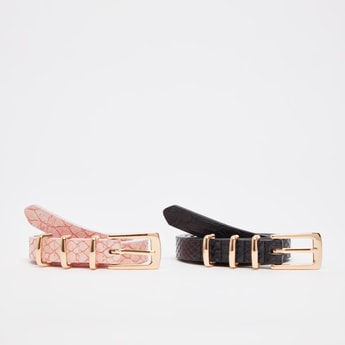 Set of 2 - Textured Slim Belt with Pin Buckle Closure