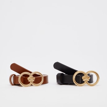 Set of 2 - Textured Belt with Pin Buckle