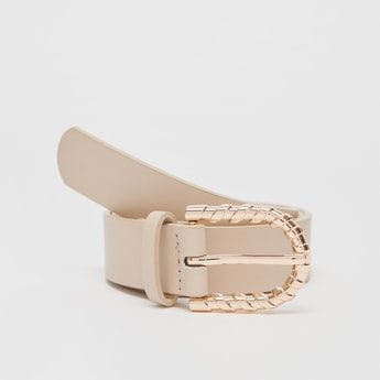 Solid Waist Belt with Buckle Closure