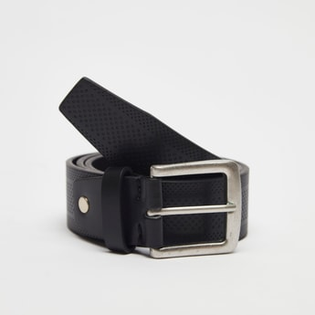 Textured Leather Belt with Pin Buckle Closure