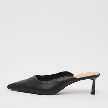 Solid Pointed Toe Slip-On Shoes with Kitten Heels