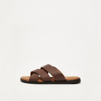 Textured Strappy Slip On Sandals