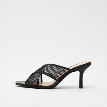 Textured Slip-On Cross Strap Sandals with Stiletto Heels