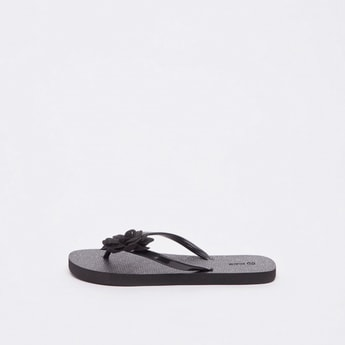 Textured Flip Flops with Applique Detail