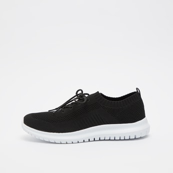 Textured Lace-Up Shoes with Pull Tab