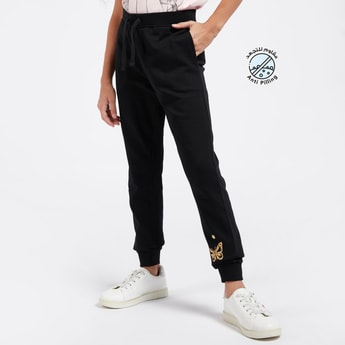 Full Length Butterfly Graphic Print Jog Pants with Elasticised Waist
