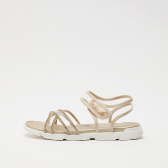 Embellished Strappy Sandals with Hook and Loop Closure