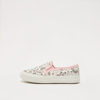 Unicorn Graphic Print Slip-On Shoes