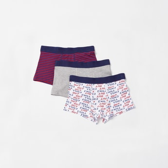 Pack of 3 - Printed Briefs with Elasticised Waistband