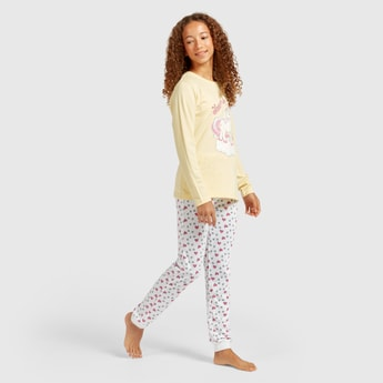 Unicorn Print Long Sleeves T-shirt and Jog Pants Set