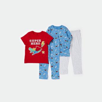 Pack of 2 - Printed Round Neck T-shirt and Pyjamas