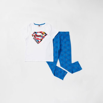 Superman Printed T-shirt and Pyjama Set