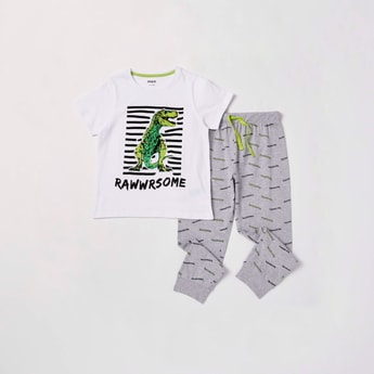Dinosaur Graphic Print Short Sleeves T-shirt and Pyjama Set