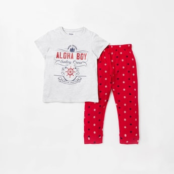 Nautical Themed Print T-shirt and Full Length Pyjama Set
