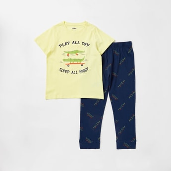 Alligator Print Short Sleeves T-shirt and Full Length Pyjama Set