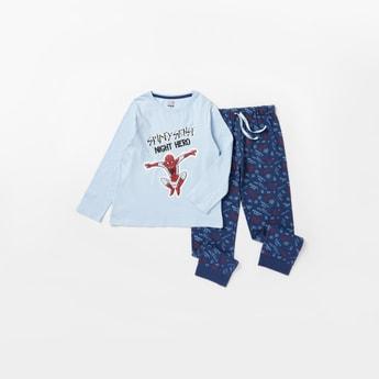 Spider-Man Print Round Neck T-shirt and Full Length Pyjama Set