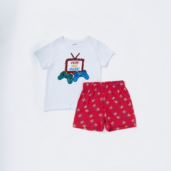 Printed Round Neck T-shirt and Shorts Set