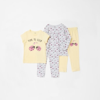 Set of 2 - Graphic Print T-shirt and Full Length Pyjamas